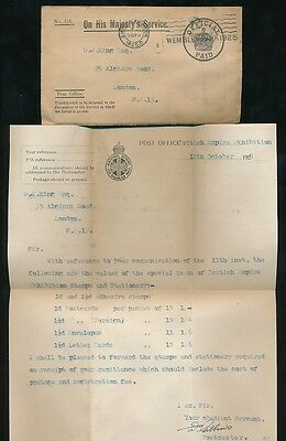 GB 1925 WEMBLEY EXHIBITION OFFICIAL ENV + SLOGAN + LETTER re POSTAL STATIONERY