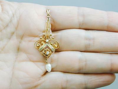 Antique Victorian 10k Yellow Green Gold Diamond Pearl Filigree Lavalier Pendant