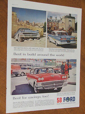 1958 Ford around the world test original US large full page advertisement
