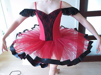Red, Black, Lace Ballet Dance Tutu, Size: Small Adult