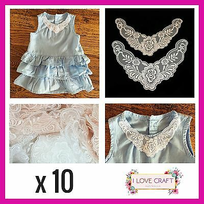 10 x applique collar sew on embellishment lace neckline small sleeve trim wing