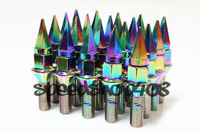 Z RACING 28mm Neo Chrome SPIKE LUG BOLTS 12X1.5MM FOR BMW 5 SERIES Cone Seat