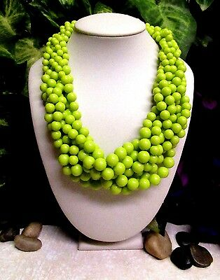 Vintage Multi-Strand MOD Lime Green Lucite Beaded Necklace