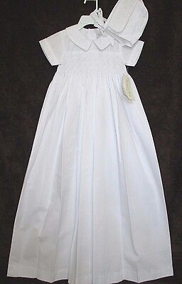 New NWT $90 Fantaisie Christening Baptism Smocked White Gown Bonnet Cap Boys 9 M