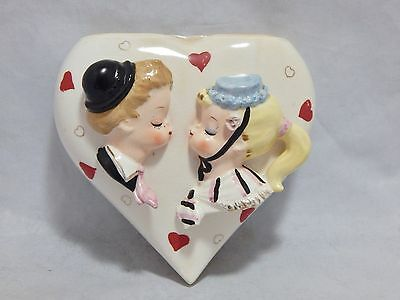 Vintage Wall Pocket Boy and Girl With Hearts