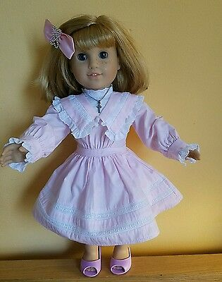 American Girl NELLIE with spring party dress, bow and necklace