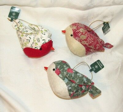 Country Primitive WONDERSHOP Christmas Bird Ornaments Set 3 Quilted Calico Birds