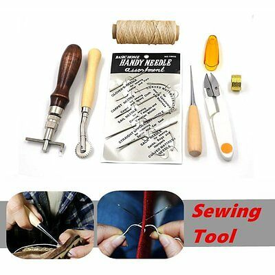7pcs Leather Craft Hand Stitching Sewing Tool Thread Awl Waxed Thimble Set Kit A