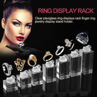 Clear Plexiglass Ring Displays Rack Finger Ring Jewelry Display Stand Holder AU