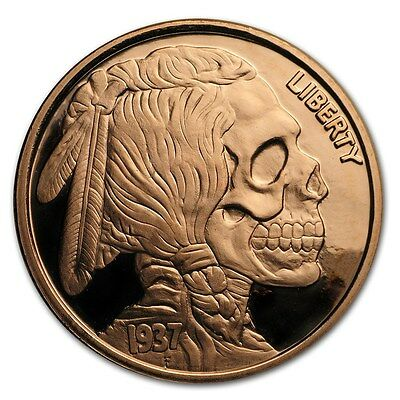 United Snakes Series - Indian Skull 1 oz .999 Copper Proof-Like Round BU US Coin