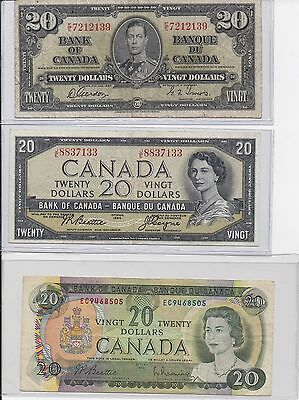 $20 3-Bank of Canada 1937, 1954, 1969