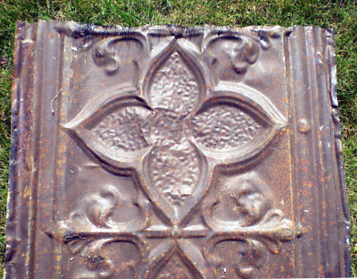 Antique Gothic Quatrefoil Ceiling Tin Tile Back-Splash Pie Safe Cabinet Door
