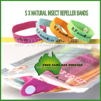 5 x  Anti Mosquito Bug Repellent Wrist Band Bracelet Insect Bug Lock Camping