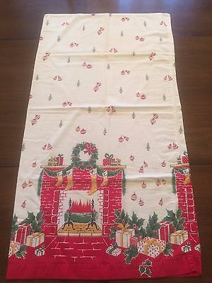"VTG Pillowcase Christmas Stamped Fireplace Gifts 33"" x 17"" Use or Craft Cutter"