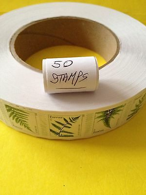 Roll (50) USPS FERNS FOREVER US STAMP.  Great For Bohemian Wedding Invitations.