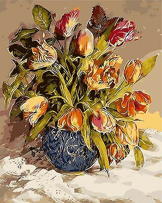 DIY Paint By Number 16*20 inches kit Oil Painting Vintage Tulip On Canvas 434