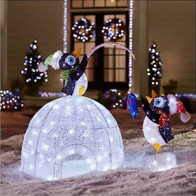 "48"" LED Lighted Igloo with Fishing Penguins Sculpture Christmas Yard Decor (New)"