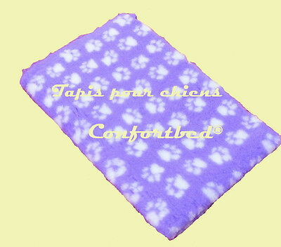 Tapis Confortbed Vetbed Dry anti-dérapant mauve pattes blanches 50x75cm 26 mm