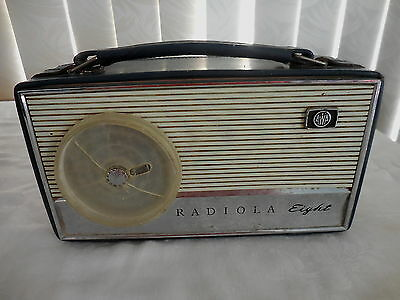 Transistor Radio Radiola Eight Awa In Blue Case With Handle Works Perfectly