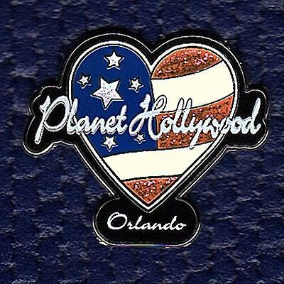 Planet Hollywood Orlando Heart Shaped Flag Pin On Card