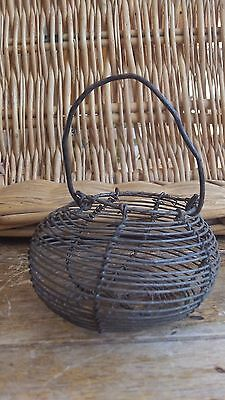 French Vintage very Small  Metal Rustic hand made Wire Basket for Candlelight