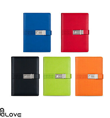 A5 Code Lock Password PU Leather Notebook Secret Diary Lined Travel Journal New