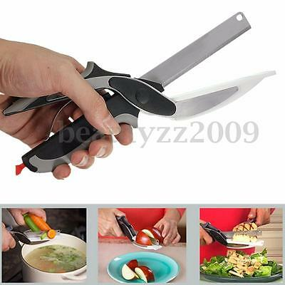 2-in-1Clever Cutter Knife Cutting Board Scissors Food Choppers Vegetable Slicer