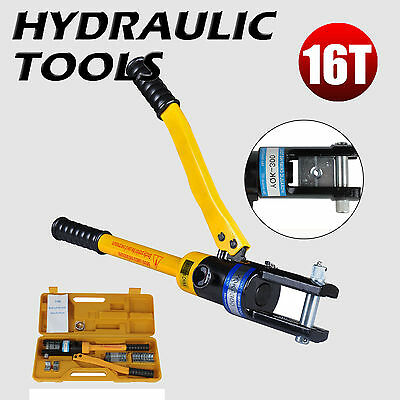 16 Ton Hydraulic Crimper Cable Wire Force Crimping 11 Dies Tool Kit 16-300mm