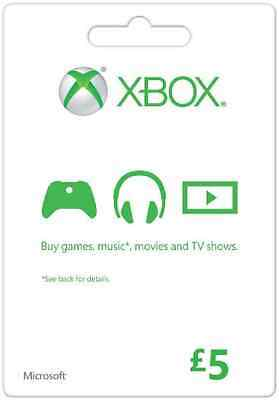 UK 5 GBP Microsoft XBOX Live £5 GIFT CARD Xbox One 360  - instant delivery