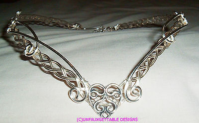 Complete Set Bridal Handfasting  Heart Scrolls Circlet, Necklace And Earrings