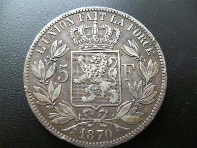 Belgium 1870 5 Francs Coin (5 Frank) Leopold Ii 0.9000 Silver Some Edge Damage.