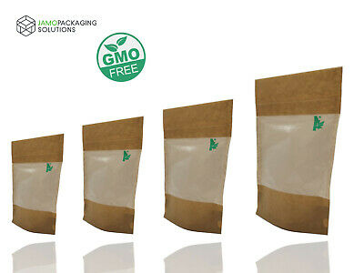 Fully Biodegradable STAND UP Pouch with TRANSLUCENT WINDOW AND GRIP HEAT SEAL