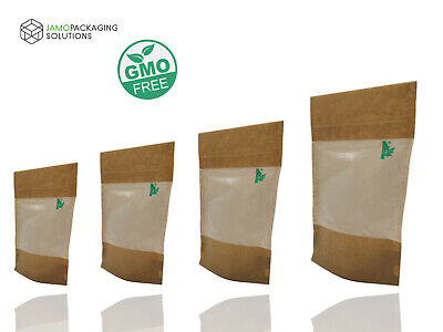Fully Biodegradable WINDOW STAND UP PLASTIC  SEALABLE POUCH GRIP HEAT SEAL