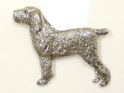Italian Spinone Brooch, Silver Plated