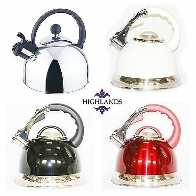 Whistling Kettle Retro INDUCTION Stainless Steel 3.5ltr 2.5l Black Red Cream