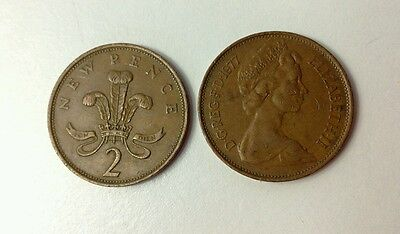 1977 rare 2p coins new pence x2 rare colectable coins new pence two pence