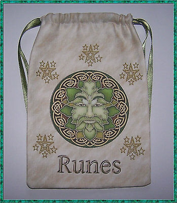 Green Man Rune Bag ideal for keeping runes in, wicca, pagan, druid, divination