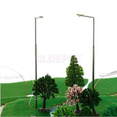 10x Street Road Park Copper LED Bulb Single Head Lights Lamppost 1/200 Scale