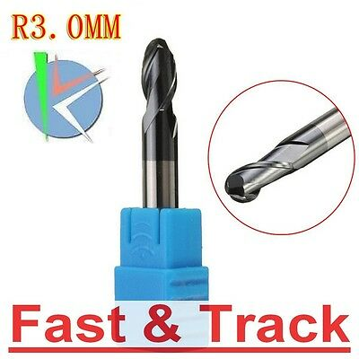 Fresa R3.0mm Nitrogen Coated Straight Shank 2 flutes Ball Nose End Mill CNC Tool