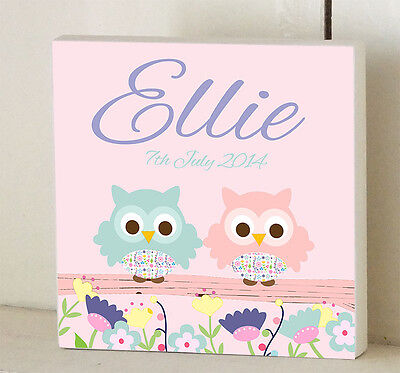 KIDS DOOR SIGN Wooden Name Plaque Personalised Nursery Decor Two Pink Owls