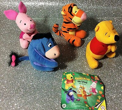 Disney Winnie The Pooh Serie 4 Personaggi Peluche Happy Meal 1996 Complet Set