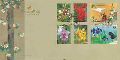 SINGAPORE - 2006 - FDC: Flowers, joint-issue with Japan. 6v