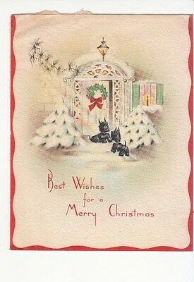 Best Wishes for A Merry Christmas Scotties Dogs Front Door Vintage Greetings