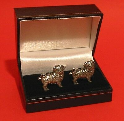 Pug Dog Pewter Cufflinks Man's Gift Kennel Vet Pet Any Occasion Xmas Gift NEW