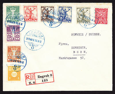 1919 Yugoslavian Yugoslavia registered cover from Zagreb to Switzerland R-Brief
