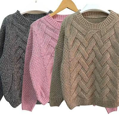 Fashion Women Long Sleeve Casual Loose Pullover Sweater Knitted Knitwear New