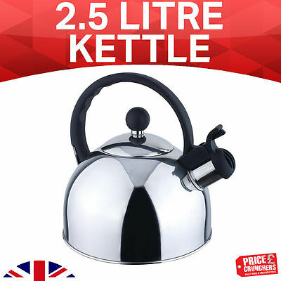 2.5 Litre Stainless Steel Whistling Kettle Tea Coffee Hot Water Gas Induction