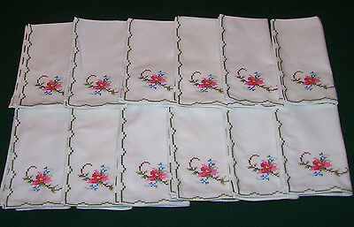 "12  GORGEOUS  VINTAGE  FLORAL EMBROIDERED NAPKINS, 16"" x 16"", NEVER USED, c1950"