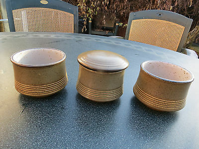 3 PURBECK STONEWARE POTTERY POOLE POTS 1 LIDDED  (No 35 )
