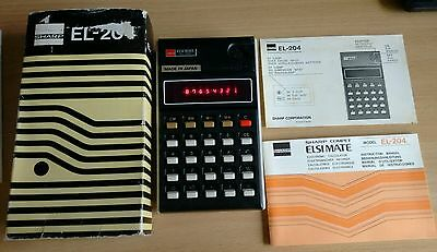 SHARP EL - 204 Calculator. Good condition. Boxed with soft case and instructions